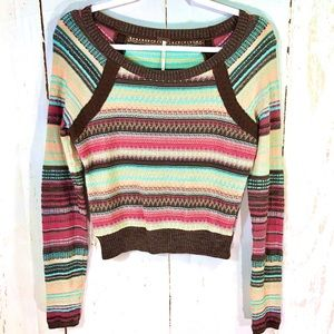 Free People Striped Cropped Light Knit Sweater